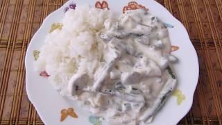 Грибы с стручковой фасолью в сметанном соусе с рисом!