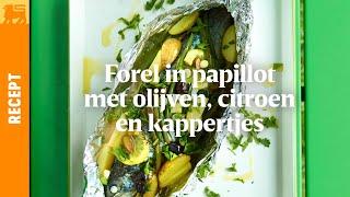 Forel in papillot met olijven, citroen en kappertjes