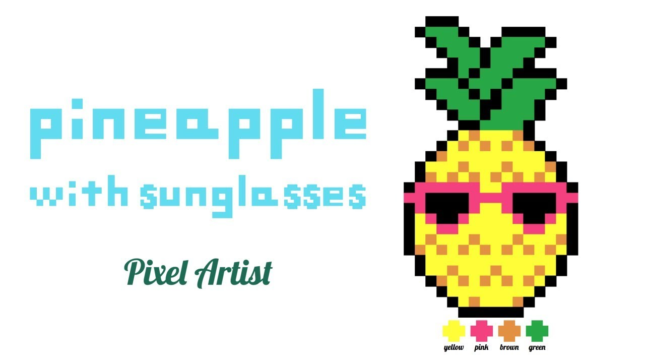 Pixel Art Easy How To Draw A Pineapple With Sunglasses