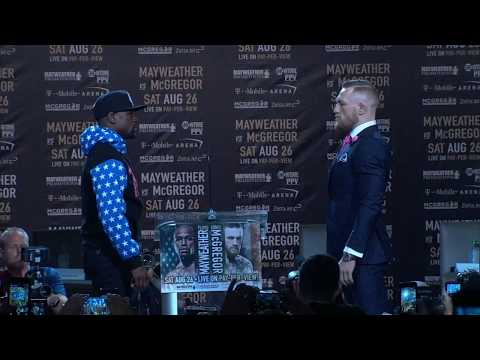 Floyd Mayweather And Conor McGregor Have First Staredown | ESPN