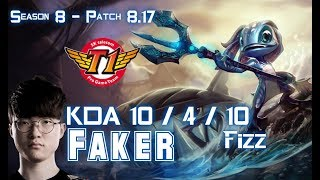 SKT T1 Faker FIZZ vs YASUO Mid - Patch 8.17 KR Ranked