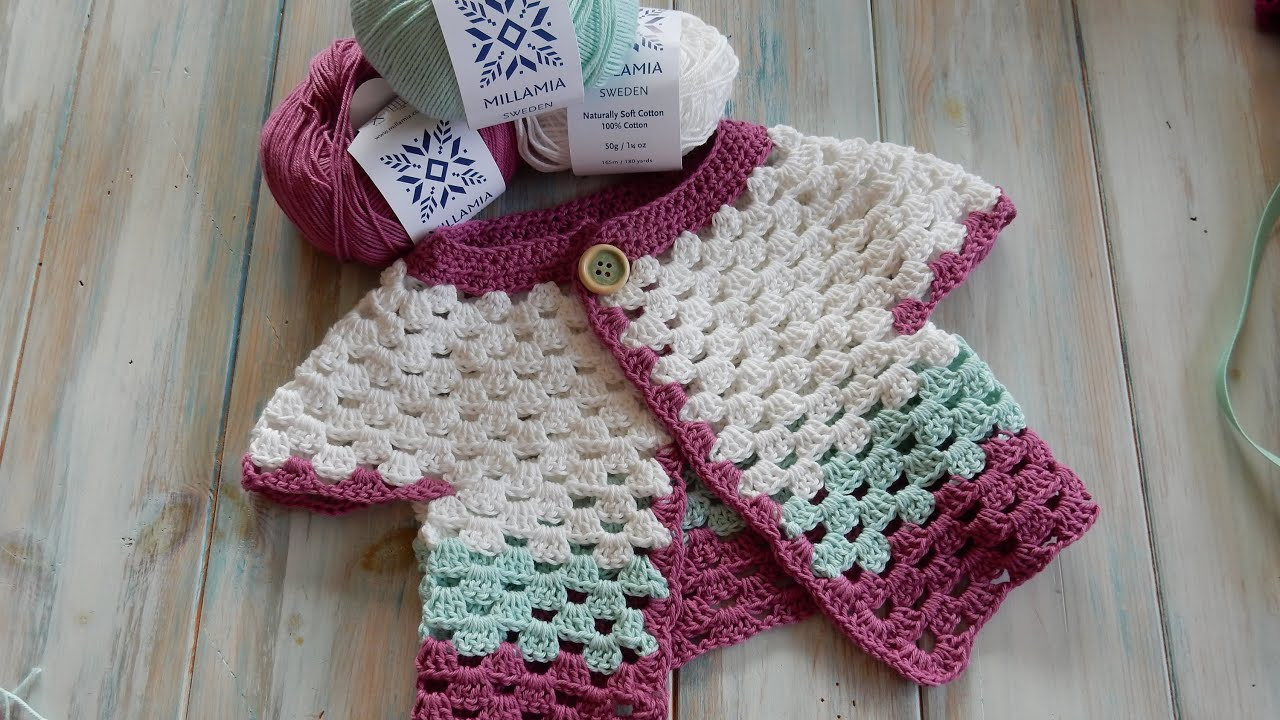 How to Crochet a Baby Cardigan 0-6 months - MillaMia Yarn Review ...