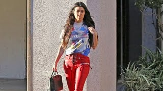 Kourtney Kardashian Sexy In Red Leather Pants And Patriotic Tee