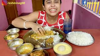 Chicken Curry+Fish Curry+Rice+দই আর রসগোল্লা Eating Show || Food Challeng || Diya Nag