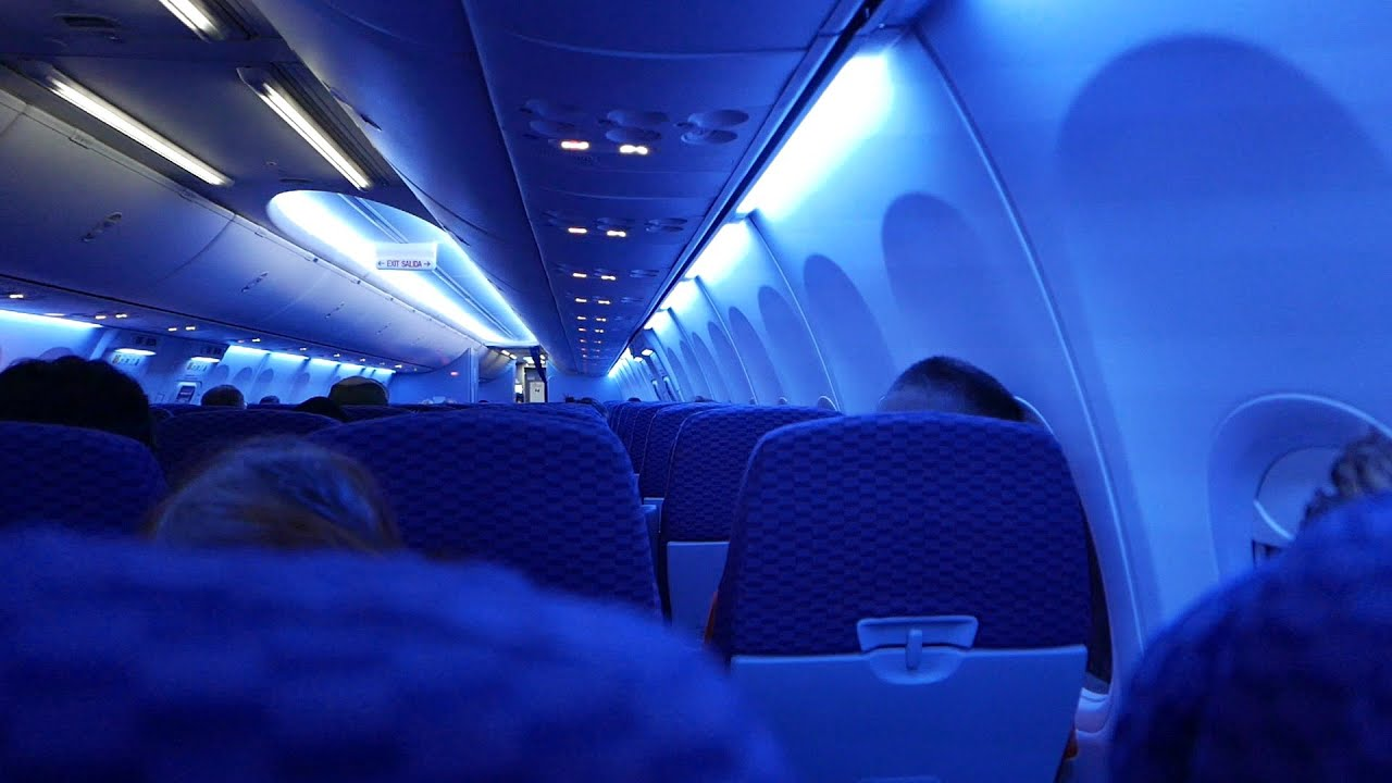 Airplane Take Off Inside View At Night On United Airlines Boeing 737