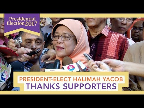 President-elect Mdm Halimah Yacob thanks supporters