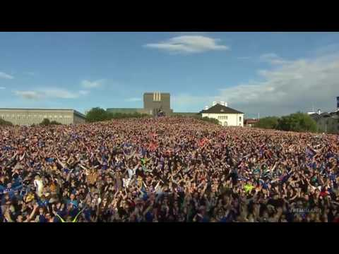 Iceland Team Clap Celebration with 10 000 Fans in Reykjavik   EURO 2016   04 07 2016
