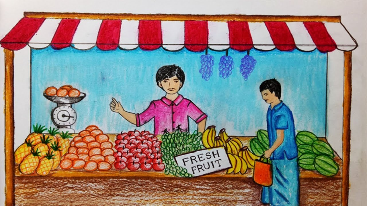how to draw fruit seller step by step easy draw youtube