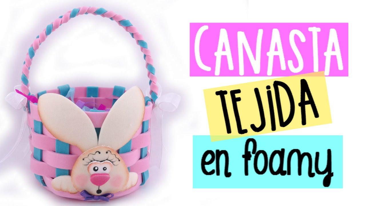 Canasta tejida en foamy souvenir para pascua baby shower for Manualidades pascua