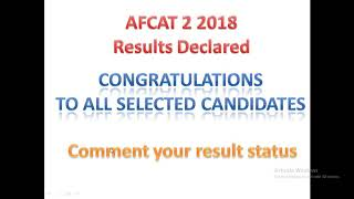 AFCAT 2 2018 RESULTS DECLARED,CHECK NOW