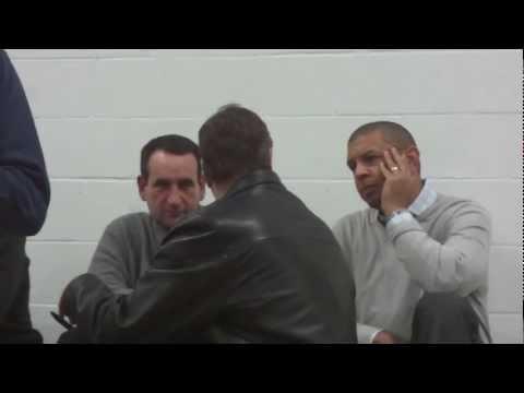 Mike Krzyzewski & Bill Self Chatting Prior To Scouting Tyus Jones - iFolloSports.com