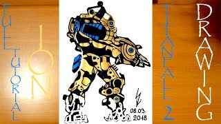 How to Draw a Robot Titan ION from Titanfall 2 Step by Step Easy, color | DRAWING TUTORIAL-FULL