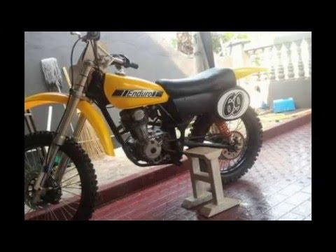 Video Modifikasi Motor Trail  vintage basic honda CB 125cc''Tromol & gear belakang TS125''