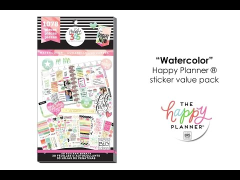 Value Pack Stickers - Watercolor - Happy Planner® Preview