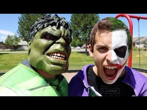 Hulk Vs Crazy Joker At Playground In Real Life | Spider-Man Avengers Videos Part 72