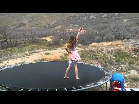 Dancing to daddy says no by the Haschak sisters on the trampoline