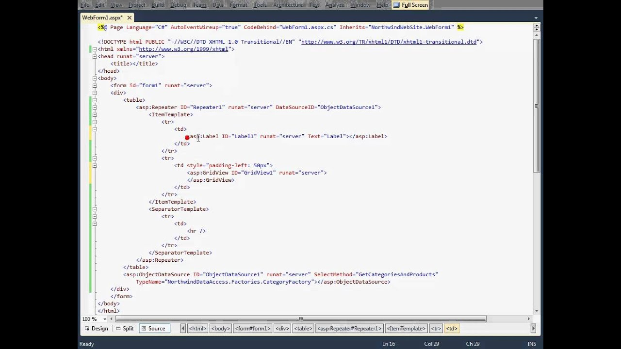 How to Bind a ASP NET GridView available inside a Repeater (using  ObjectDataSource)