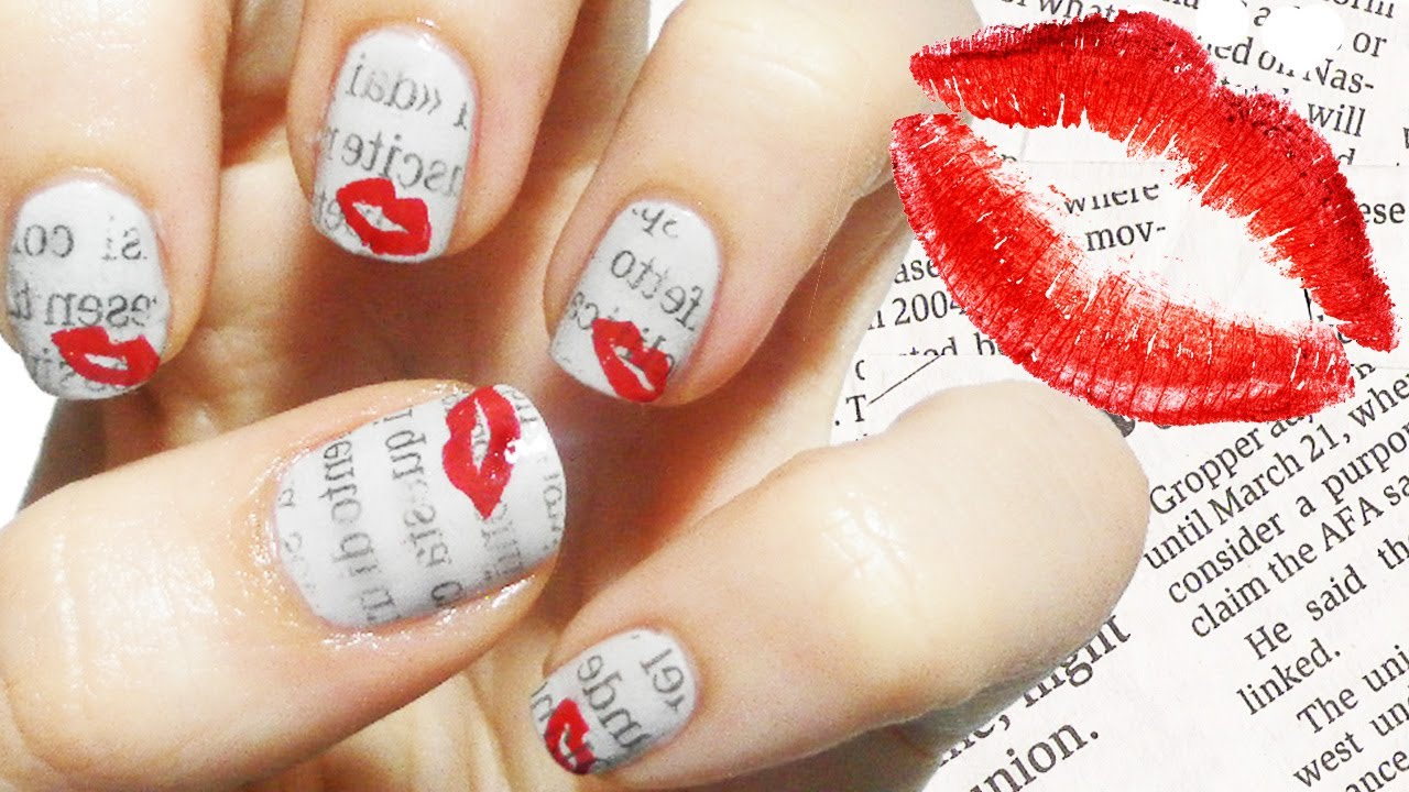 Love Letter Nail Art/ Newspaper tecnique - YouTube