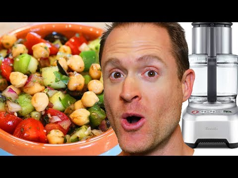 Healthy Vegan Recipes – Oil Free Veggie Chickpea Salad – Breville Sous Chef 16 Peel & Dice
