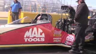 Doug Kalitta's engine gets too hot at Nitro Spring Training in Phoenix