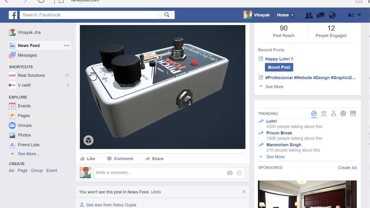 Interactive 3D Model on Facebook
