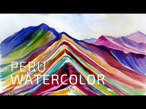 Watercolor painting – landscape timelapse – Peru