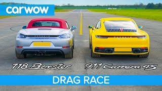New Porsche 911 vs Boxster GTS - DRAG RACE, ROLLING RACE & BRAKE TEST