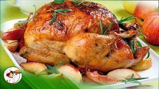 Очень сочная и вкусная Курица, запеченная в духовке с яблоками и апельсинами!
