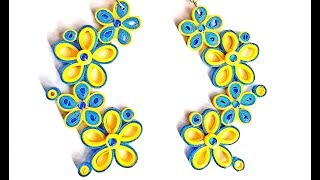 62. Quilling Earrings New - Long floral design