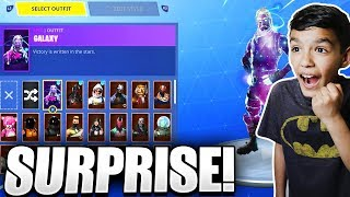 I Actually Surprised My Little Brother With The RARE GALAXY Skin In Fortnite!