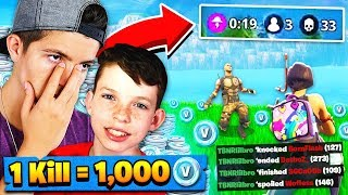 1 KILL = FREE 1000 V BUCKS! Fortnite: Battle Royale w/ my Little Brother!