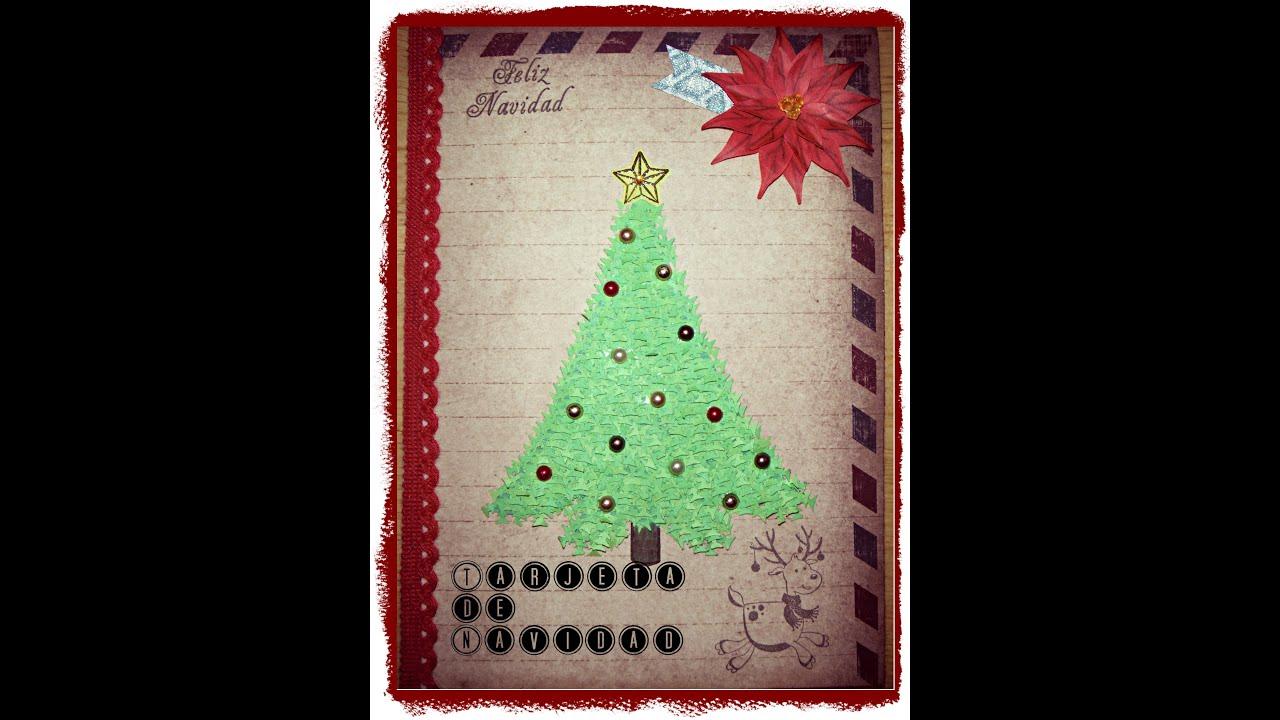 Diy como decorar una tarjeta de navidad arbolito de - Como decorar de navidad ...