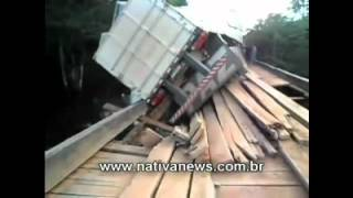 Huge Truck On Wooden Bridge, Nearly Falls Dont Into Water (april 17th 2012)