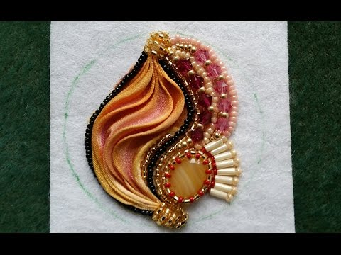 Beading4perfectionists: Shibori silk embroidery earrings part 2 : Stitched