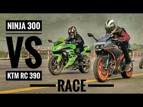 KAWASAKI NINJA 300 VS KTM RC 390 | RACE | EXHAUST SOUND