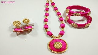 DIY Silk Thread Jwellery Set| Easy and beautiful| Silk Jhumka Silk Bangles Silk Neckless