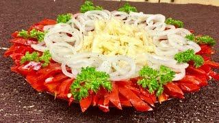 Необычный салат из маринованного перца и яблок
