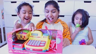 Ishfi and Funny Aunty Unboxing Toy Shop Cash Register