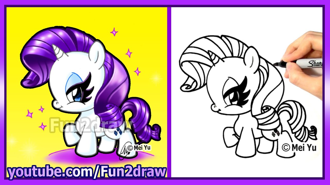 How to draw a Rarity pony