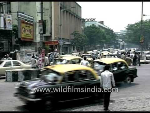Calcutta transport of yore: yellow Ambassador taxis, Contessa and scooters