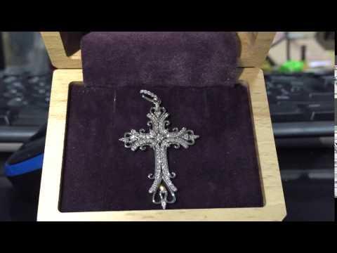 Арт. 06050 - Золотой крестик с бриллиантами