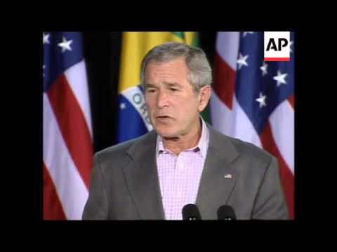 Presidents Bush and Luiz Inacio Lula da Silva speak at Camp David