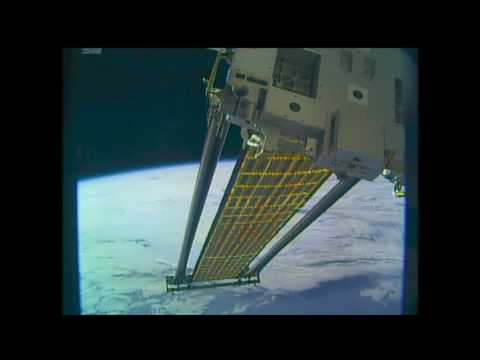 Roll Out Solar Array Experiment (ROSA) Deploys on ISS, Elastic Memory Composites Booms