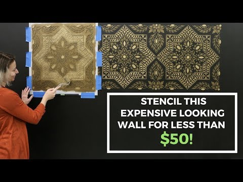 How To Stencil A Faux Tile Feature Wall With Modern Masters Metallic Paint