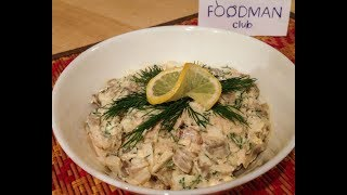 Грибной салат с индейкой: рецепт от Foodman.club