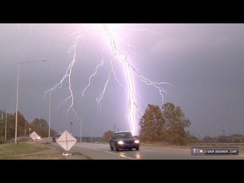 Lightning barrage, hail & tornado from November supercell - St. Louis area