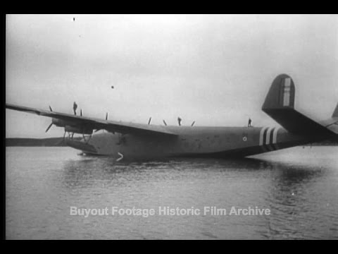 Historic Archival Stock Footage WWII - Giant French Seaplane Latecoere Is Flight Tested