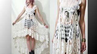 Креативное платье и туника вязаное крючком. Creative dress and crochet tunic