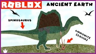 Spinosaurus vs Ammonite in Ancient Earth Dinosaur Video Game ROBLOX - Family YG Gaming
