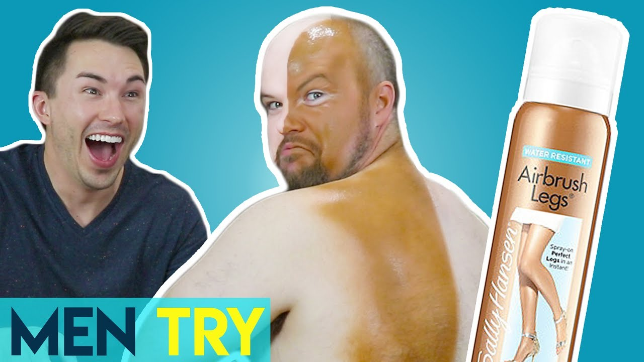 Men Try Fake Tan - Self Tanning Makeup Spray - YouTube 2504aff0bf80
